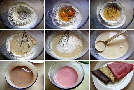 Stap voor stap recept met foto's om lekkere flensjes te bakken in verschillende kleuren