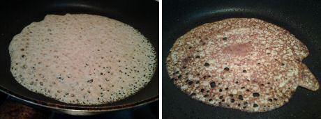 Luchtige pannenkoek van volkorenmeel en kikkererwtenmeel